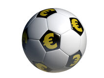 Soccer ball eur symbol Stock Images