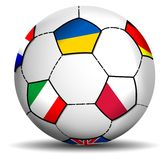 Soccer Ball Euro 2012. Euro 2012 Soccer Ball, with the flags of the host nations, Poland and Ukraine, and those of major European clubs Stock Photography