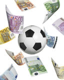 Soccer ball with euro banknotes isolated on white Royalty Free Stock Image
