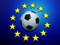 Soccer ball on European Union flag Royalty Free Stock Image