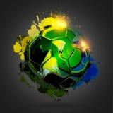 Soccer ball explosion black Stock Photos