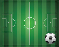 Soccer ball and the field Royalty Free Stock Photos