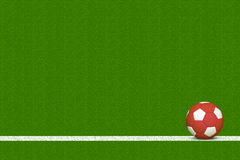 Soccer Ball on Field. Red Soccer Ball Over White Line of Grass Field Stock Image