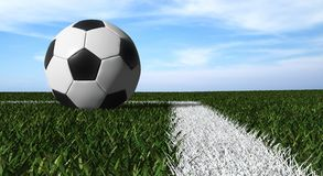 Soccer ball on the field Stock Photo