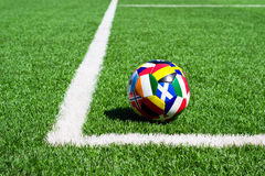Soccer ball on field Royalty Free Stock Photography