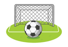 Soccer ball. On the field Royalty Free Stock Photo