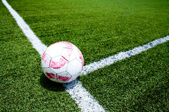 Soccer ball on the field corner Royalty Free Stock Photo
