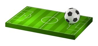 Soccer ball and at soccer field 3D illustration isolated. Design Royalty Free Stock Image