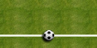 Soccer ball on field grass background. 3d illustration. Soccer ball on field grass background, top view. 3d illustration Stock Photography