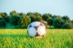 Soccer ball on field grass. Outdoor games. 3d. Render stock illustration
