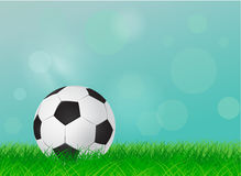 Soccer ball on field. Soccer ball on a green lawn, football field - vector illustration Royalty Free Stock Photography