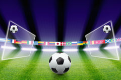 Soccer ball, field, light Royalty Free Stock Photos