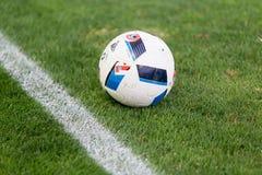Soccer ball on the field  before the match Aris vs Panathinaikos Stock Photos