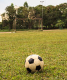 Soccer ball on the field Stock Images