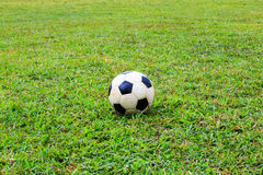 Soccer ball on the field Stock Photography