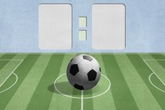 Soccer ball on the field with score background Stock Photo