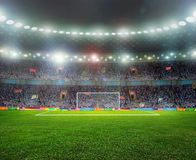 Soccer ball. On the field of stadium with light Stock Image