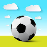 Soccer Ball on Field Vector Illustration. With Blue Sky and Clouds Stock Images