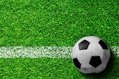 Soccer Ball on Field With Copy Space Royalty Free Stock Image