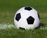 Soccer ball on the field with yard line. Football on grass Royalty Free Stock Image