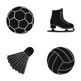 A soccer ball, figure skating skates, a shuttlecock for a badminton, a ball for volleyball. Sport set collection icons Royalty Free Stock Photo