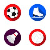 A soccer ball, figure skating skates, a shuttlecock for a badminton, a ball for volleyball. Sport set collection icons Royalty Free Stock Images