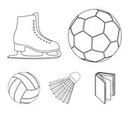 A soccer ball, figure skating skates, a shuttlecock for a badminton, a ball for volleyball. Sport set collection icons. In outline style vector symbol stock Royalty Free Stock Photography