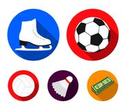 A soccer ball, figure skating skates, a shuttlecock for a badminton, a ball for volleyball. Sport set collection icons. In flat style vector symbol stock Stock Photo