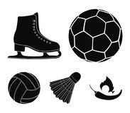 A soccer ball, figure skating skates, a shuttlecock for a badminton, a ball for volleyball. Sport set collection icons. In black style vector symbol stock Stock Photos