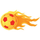 Soccer ball on fire. Illustration of a fast moving soccer ball on fire Royalty Free Stock Image