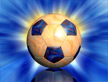 Soccer ball on fire. Soccer ball with fire texture and abstract light rays background Stock Images