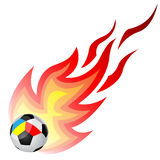 Soccer ball with fire. Isolated on a white background. Ball to the flags of Ukraine and Poland Stock Images