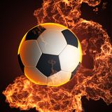 Soccer ball in fire. Made in 3D Royalty Free Stock Image