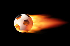 Soccer ball on fire. Flying soccer ball on fire Royalty Free Stock Photo