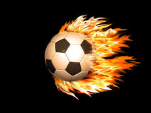 Soccer ball on fire. On a black background Royalty Free Stock Photos