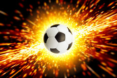 Soccer ball in fire. Abstract sports background - soccer ball, big explosion, fire Stock Photography