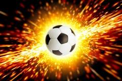 Soccer ball in fire stock illustration
