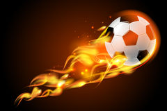 Soccer ball fire on black background. Realistic color soccer ball fire for football on black background poster vector illustration royalty free illustration