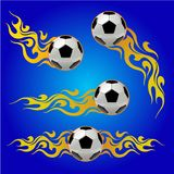Soccer ball on fire vector illustration on blue background. Soccer ball on fire on blue background Royalty Free Stock Images