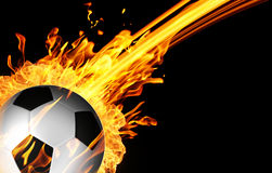 Soccer ball in fire flames Stock Photo