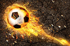 Soccer ball in fire flames Royalty Free Stock Photos