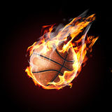 Soccer ball on fire. Flying on black background royalty free stock image
