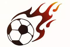 Soccer ball in fire, hand drawn simple illustration, black ball. Pattern with flame on white isolated. Football world cup sketch or drawing in doodles style Stock Images
