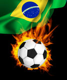 Soccer ball in fire Royalty Free Stock Photography