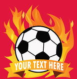 Soccer ball on fire with space for text. Vector.  Stock Photo