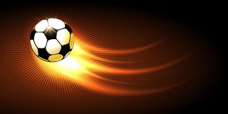 Soccer Ball with Fire Trail. Flying on black background. Vector illustration Stock Photo