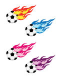 Soccer Ball With Fire. Vector flaming soccer football design with different colour Royalty Free Stock Photo