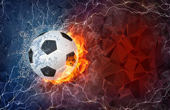 Soccer ball in fire and water Stock Images