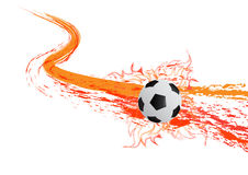 The  soccer ball with fire  on white background. The  soocer ball with fire Stock Images