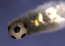 Soccer ball FireBall. 3d rendering of Soccer ball with a smoking and burning trail Stock Photos